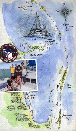 The image is of the expedition team of our last expedition ion ABACO Island in the Bahamas in March of 2016. From bottom left to right – Art Director and Head SCUBA Diver Chris O'Flaherty, Actor, Narrator and Chief Anchor Operator Arnaud Spanos, BioArtist and Head of Operations Darya Warner. Top left to right – Expedition Leader Joe DeGiorgis, Lead Scientist and Underwater Cinematographer Lucas Pozzo-Miller, Artist and Naturalist Regan Rosburg, Environmental Artist/Photographer and Author Chris Jordan, and Snorkeling Aficionado and Head Chef Victor Jordan. Our trusted Captain Jess Berndt is behind the camera.